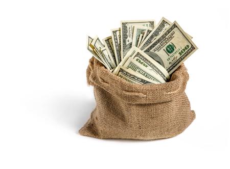 Canvas money sack - studio photography of bag with hundred dollar bills