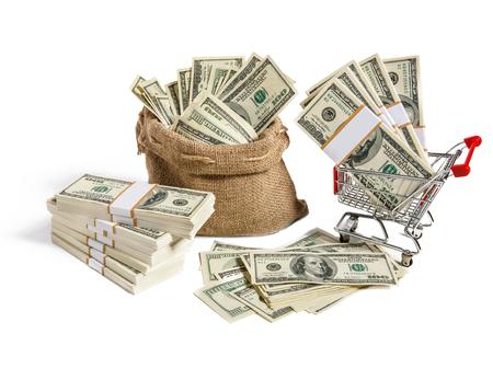 sackful: Sackful and steel grocery cart - studio photography of bag and shopping cart full of dollar bills
