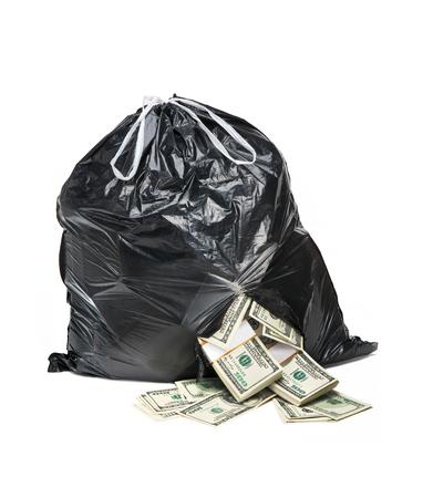 evidence bag: Bag full of money - studio photography of black plastic bag with hundred dollar bills on a white background Stock Photo