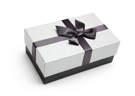giftbox: Packaging box - studio shot of black and white box wrapping ribbon with bowknot - on white background Stock Photo