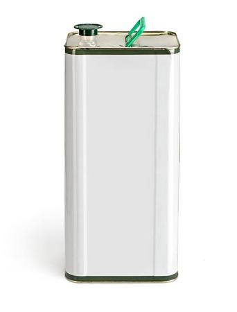 aceites: El aceite de oliva puede con espacio en blanco para fines generales - estudio de fotograf�a de contenedor de aceite de oliva sobre fondo blanco Foto de archivo