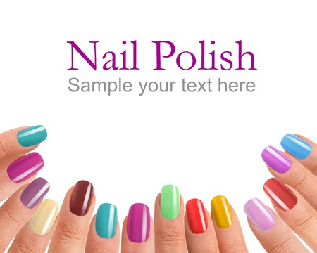 Multi Color manicure - photography of beautiful female fingers with manicure - isolated on white background with sample text