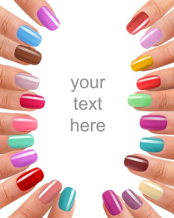 Funky fingers nail polish - photography of beautiful female fingers with manicure - isolated on white background with space for your text