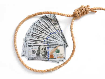 debt trap: Paper money fan in a noose - studio photography of American national currency of hundred dollar isolated on white background