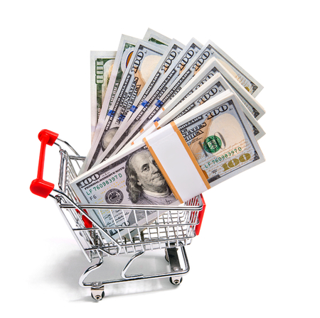 cart cash: Shopping cart full of cash