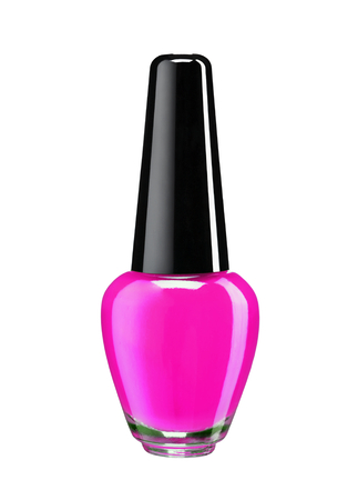 room for your text: Bottle of colored nail polish - studio photography of nail polish bottle with black lacquer cap over white background