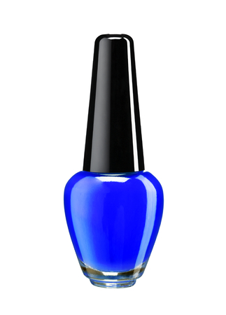 Bottle of blue nail polish - studio photography of nail polish bottle with black lacquer cap over white background photo
