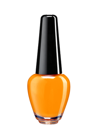 Vibrant colourful orange nail varnish - studio photography of nail polish bottle with black lacquer cap over white background
