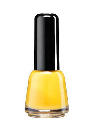 Bottle of orange nail polish - studio photography of nail polish bottle with black lacquer cap over white background photo