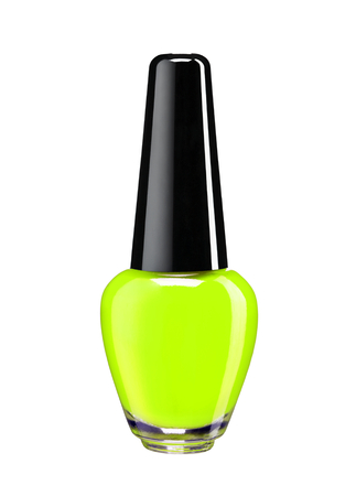 Vibrant colourful green nail varnish  - studio photography of nail polish bottle with black lacquer cap over white background