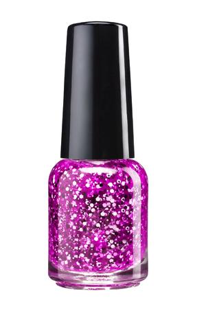 Glitter nagel verf - studiofotografie van sparkliest nagellak fles met zwarte lak kap over witte achtergrond
