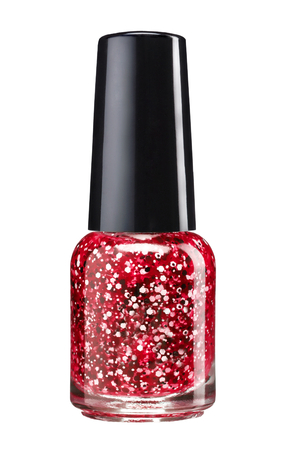 Glitter nail paint  - studio photography of sparkliest nail polish bottle with black lacquer cap over white background photo