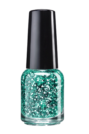 Glitter nagel verf - studio fotografie van sparkliest nagellak fles met zwarte lak cap op witte achtergrond