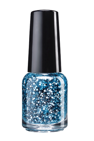Glitter nail paint - studio photography of sparkliest nail polish bottle with black lacquer cap over white background