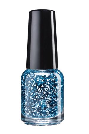 Glitter nagel verf - studio fotografie van sparkliest nagellak fles met zwarte lak cap op witte achtergrond Stockfoto