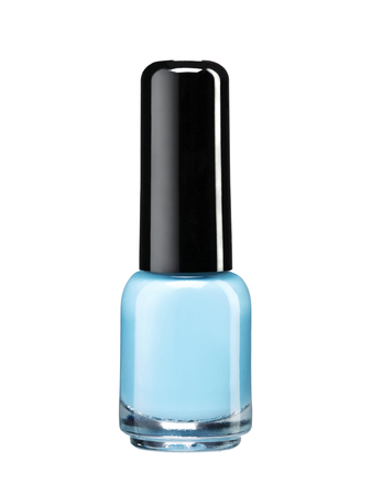 Blue nail polish lacquer - studio photography of nail polish bottle with black lacquer cap over white background