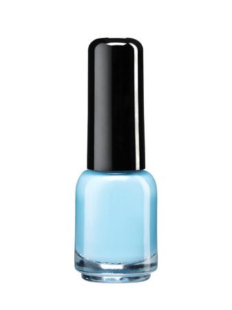 Blauwe nagellak lak - studiofotografie van nagellak fles met zwarte lak dop over witte achtergrond
