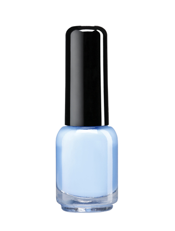 Blue nail varnish - studio photography of nail polish bottle with black lacquer cap over white background