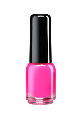 Fles roze nagellak - studiofotografie van nagellak fles met zwarte lak kap over witte achtergrond