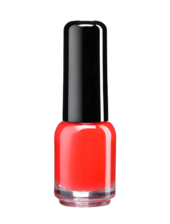 cosmetic lacquer: Red nail polish - studio photography of nail polish bottle with black lacquer cap over white background Stock Photo