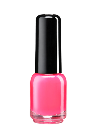 cosmetic lacquer: Red nail polish bottle - studio photography of nail polish bottle with black lacquer cap over white background