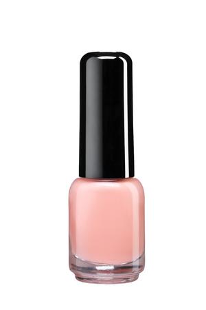 Fles roomkleur nagellak - studiofotografie van nagellakfles met zwarte lakpet over witte achtergrond Stockfoto - 30940421