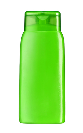 Plastic lotion bottle - studio photography of plastic bottle for shampoo - isolated on white background photo
