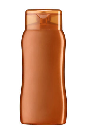 Plastic lotion bottle - studio photography of plastic bottle for shampoo - isolated on white background