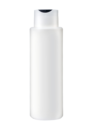 Plastic bottle of body care and beauty products - studio photography of plastic bottle for shampoo - isolated on white background photo