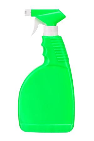 Green plastic dispenser - studio photography of spray multipurpose cleaner - isolated on white background photo