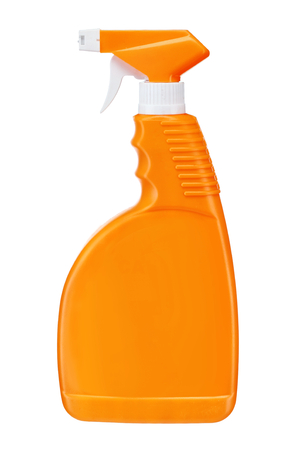 Orange plastic dispenser - studio photography of spray multipurpose cleaner - isolated on white background Banque d'images