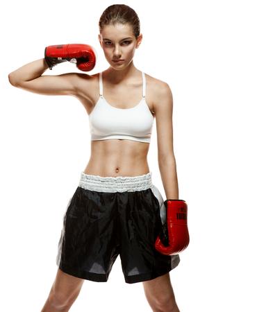 entice: Street fight girl - portrait of healthy sport brunette girl on white background