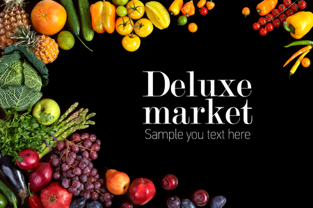 건강 한 먹는 배경. 디럭스 시장 스톡 콘텐츠