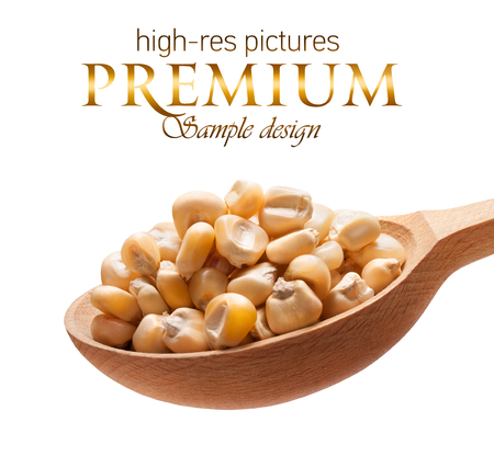kernels: White corn in a wooden spoon - kernels on wooden spoon isolated on white background with place for your text