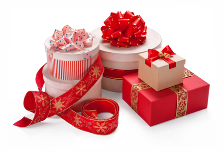 Gift packaging boxes with a bow for Merry Christmas & New Years Eve photo