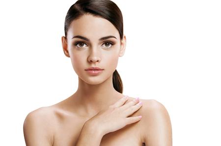 Jonge mooie vrouw met professionele make-up, huidverzorging begrip Stockfoto