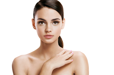 ravishing: Young pretty woman with professional make-up, skin care concept