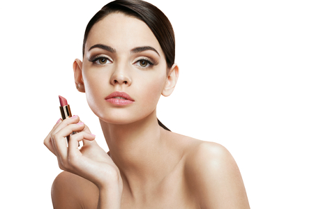 pomatum: Charming young woman with lipstick