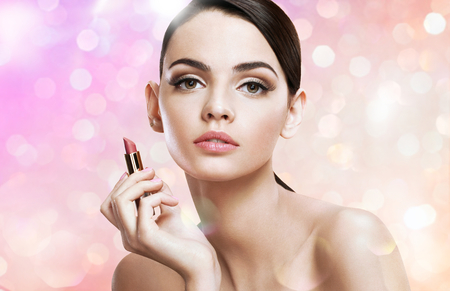 pomatum: Charming young lady with lipstick