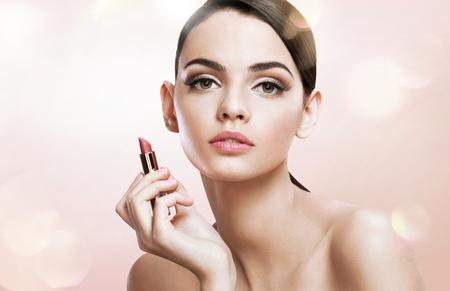 pomatum: Charming teen girl woman with lipstick