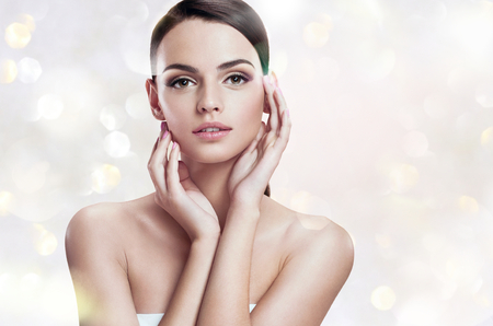 beautiful lady: Charming young woman, youth and skin care concept