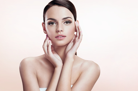 face to face: Gorgeous young model, youth and skin care concept Stock Photo