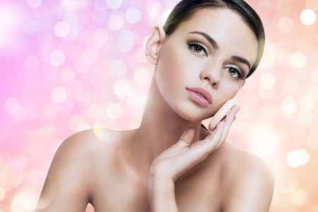 glowing skin: Pretty lady enjoy a flawless skin, skin care concept Stock Photo