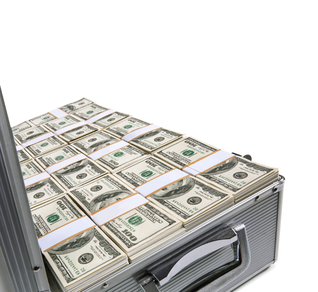us currency: Metal suitcase with money