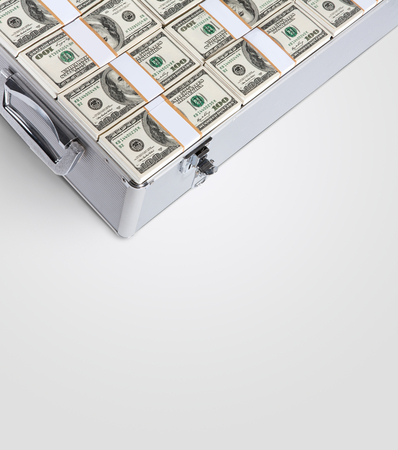 financial security: Suitcase of money