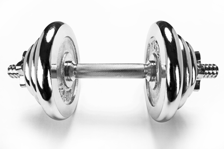 chromium plated: The dumbbell, sport life concept Stock Photo