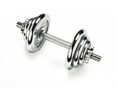 chromium plated: Metal dumbbell Stock Photo