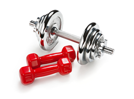 chromium plated: Light and Heavy dumbbells Stock Photo