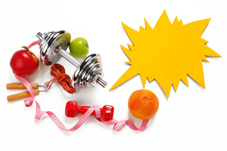 Sporty still life - photo of weight training and fitness equipment on white background photo