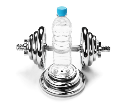 chromium plated: Water bottle and a dumbbell, fitness concept